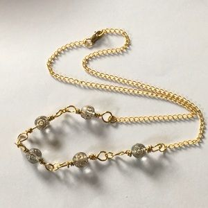 Jewelry - Gold Etched Quartz on 14k Gold Plated Chain
